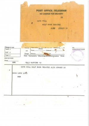 Telegram to Dave Hill from his mother