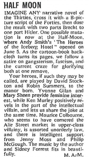 M.A.M, The Stage, 14 June 1973