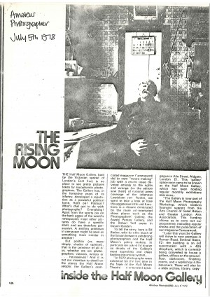 The Rising Moon - inside the Half Moon Gallery. Amateur Photographer, 5 July 1978 - page 1