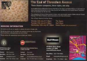 The End of Threedom Avenue - Flyer (Back)
