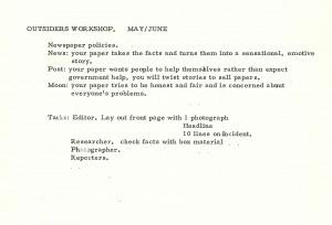 Outsider - Workshop Information