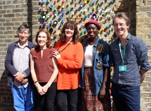 Half Moon Theatre - Stages of Half Moon launch event, Sat 2 July 2016. [L to R] Michael Irving, Linda Marlowe, Josie Lawrence, Anna-Maria Nabirye, Chris Elwell. Photo by Stephen Beeny