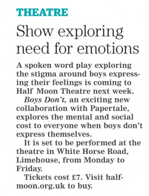 Boys Don't preview feature in Newham Recorder, 15 March 2017