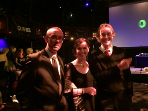 Phil Clarke, Rosemary Harris and Chris Elwell at the Offies, Off West End Theatre Awards