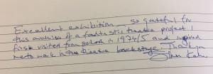 Comments book from Tower Hamlets Local History Library and Archives about Stages of Half Moon exhibition - 1