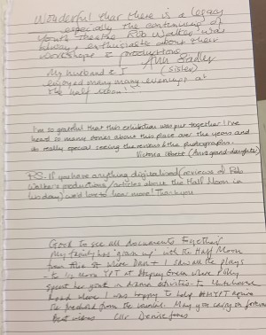 Comments book from Tower Hamlets Local History Library and Archives about Stages of Half Moon exhibition - 2