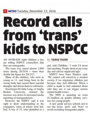 Metro Article on transgender young people.. 13 December 2016