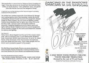 Dancing in the Shadows Programme - Front