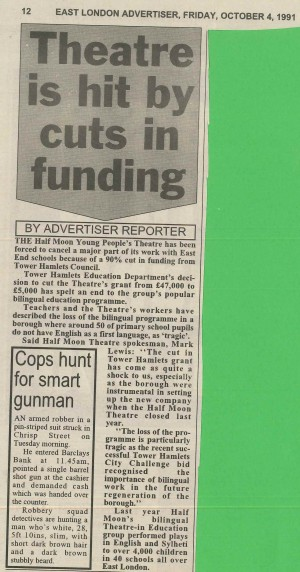 Funding Cuts Article, East London Advertiser, 4 October 1991