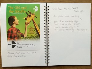 The Girl and the Giraffe audience feedback, 19 March 2016