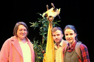 Cllr Rachel Saunders with the giraffe puppet and performers Lawrence Alliston-Greiner and Amber-Rose May