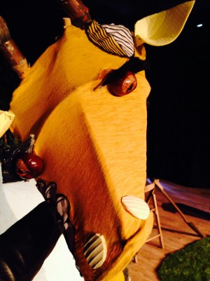 Giraffe gets ready for a performance of The Girl and the Giraffe
