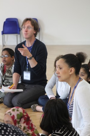 Half Moon director, Chris Elwell working with young people as part of the Exchange for Change project