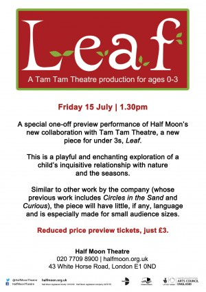 Flyer back for the research and development preview of Leaf