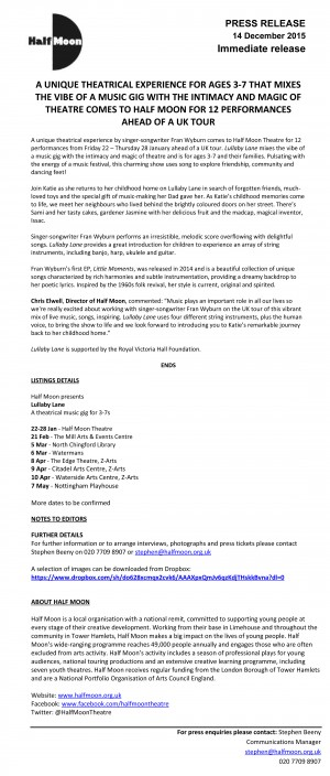 Lullaby Lane, tour press release