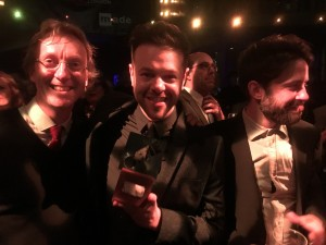 Chris Elwell. Toby Ealden and Guy Connelly at the Offie Awards