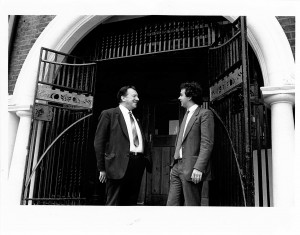 Steve Murphy with Ray Buckton general secretary of ASLEF outside Half Mon chapel. Photo given to Half Moon by Stephen Murphy, Development Director for the Half Moon 1983-85.