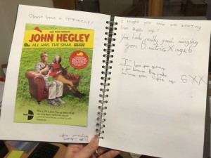 John Hegley: All Hail the Snail (and other creatures) audience feedback