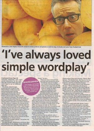 Oxford Times, 12 April 2018, page 1 - John Hegley interview about All Hail the Snail (and other creatures)