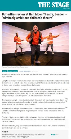 Review of Butterflies, The Stage, 24 September 2018.