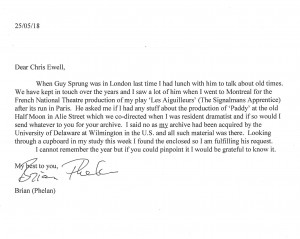 Letter from Brian Phelan to Chris Elwell, Paddy 1975