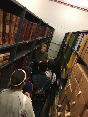 Lunar Youth Theatre visit the Tower Hamlets Local History Library and Archives, 3 May 2018