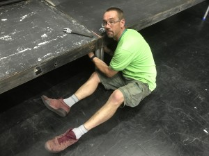 Production Manager Phil Clarke begins the set build for Playful Heritage