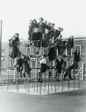 Abbott Road Children's Playground, c1954 . Image courtesy of the Tower Hamlets Local History Library and Archives.