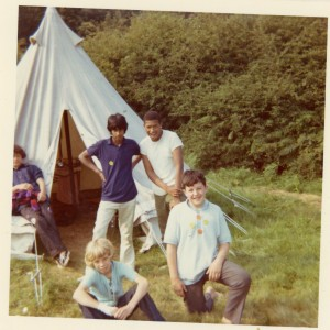 Young people from the East End, including Suresh Singh, on holiday, 1980. Image courtesy of the Tower Hamlets Local History Library and Archives.