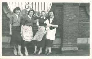 June McDonald with friends aged 15 - break from work as machinists 1950s