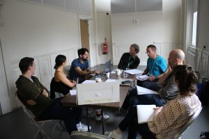 Off the Grid read through. Photo by Stephen Beeny