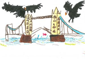 Off the Grid - Eagles over Tower Bridge drawing by Beau Allton-Nee.