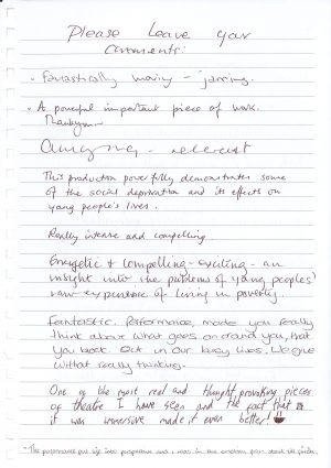 Off the Grid audience feedback from Forest Forge Theatre 1