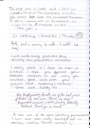 Off the Grid audience feedback from Forest Forge Theatre 2