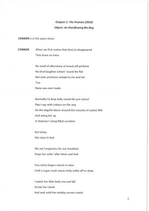 Off the Grid, by David Lane. Script extract, page 3