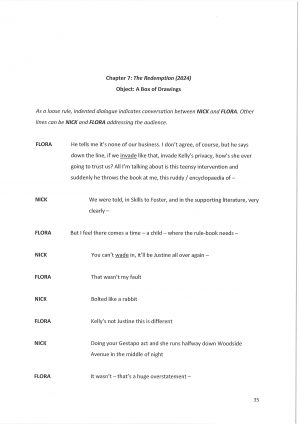 Off the Grid, by David Lane. Script extract, page 35