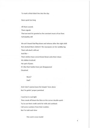 Off the Grid, by David Lane. Script extract, page 4