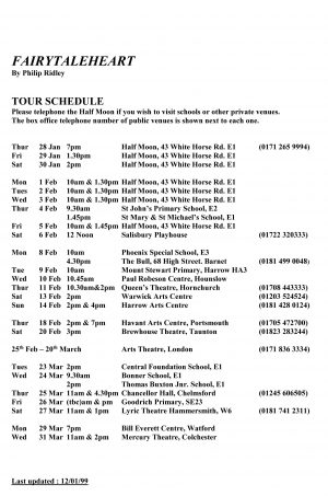Fairytaleheart tour schedule