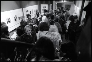 From the Mike Goldwater Collection at the Four Corners Archive. 27 Jan 1975. People waiting in the Half Moon Galllery before the doors opened into the theatre for the first Camera Obscured seminar. Photo by Mike Goldwater