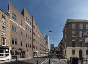 Alie Street 2017 - copyright Derek Kendall Project; Survey of London - Whitechapel. Site; The White Swan Public House and Central House, Alie Street, Whitechapel Exterior, view from south west.