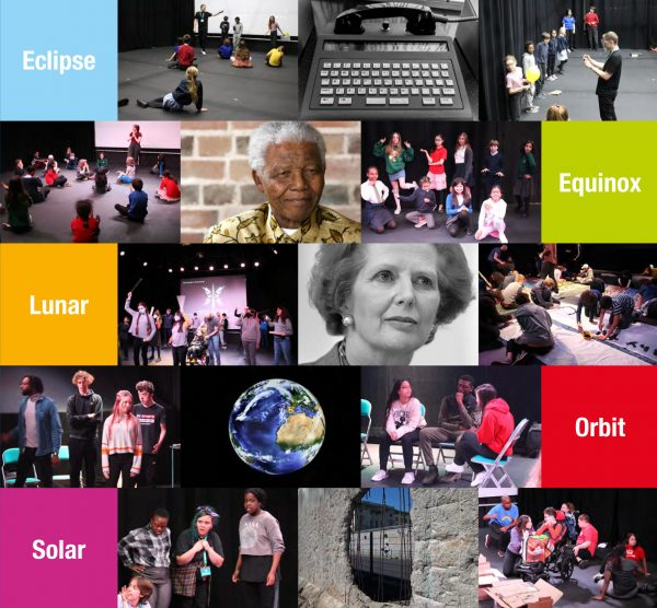 A montage of images representing out Happened 1990 Youth Theatre project