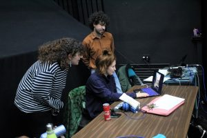 Rehearsal photo of the Hot Orange ensemble