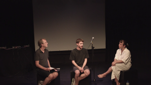 Production photo of Q&A with the creative team of LOOPINDOORS