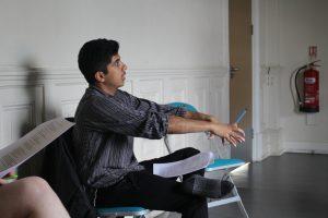 Rehearsal photo of movement director Hamza for Daytime Deewane.
