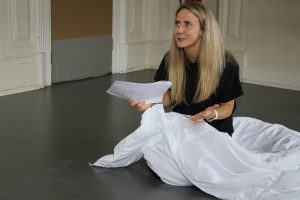 Rehearsal photo of actor Jade for Ange
