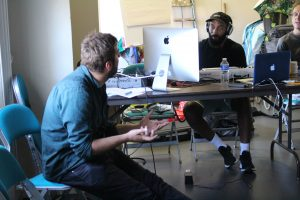Rehearsal photo of composer James Perry and writer Joe for The Bench.