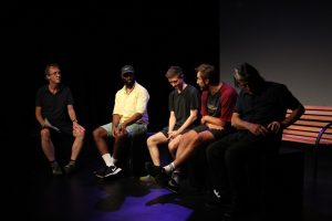 Production photo of Q&A with the creative team of The Bench