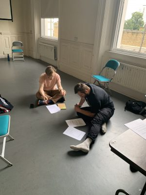 Rehearsal photo of assistant director Stephen and writer Joe for The Bench