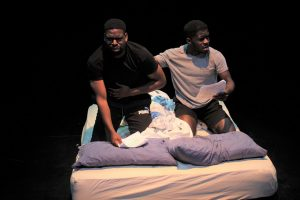 Production photo of actors John and Kenneth for 10-In-The-Bed