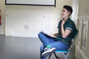 Rehearsal photo of assistant director Rori for Boys will be Boys